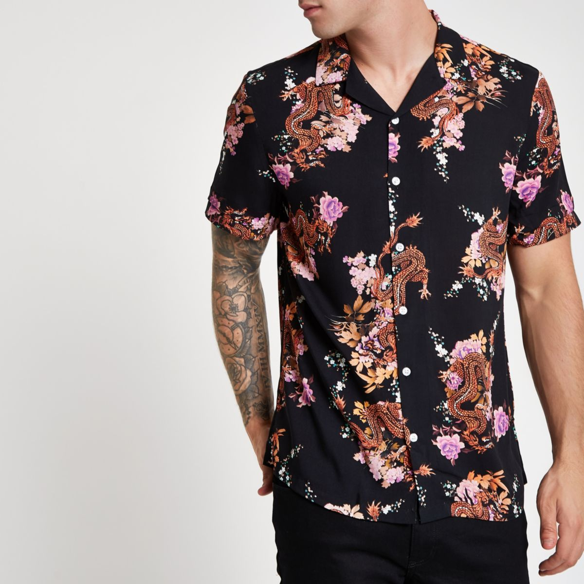 Black short sleeve floral dragon print shirt