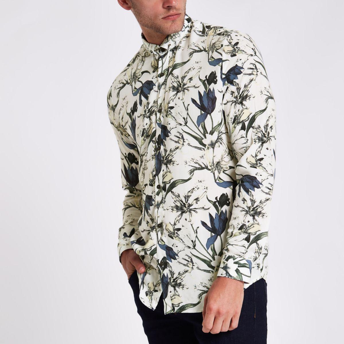 Ecru Floral Slim Fit Long Sleeve Shirt                                  Ecru Floral Slim Fit Long Sleeve Shirt by River Island
