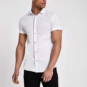 White muscle fit popper button shirt