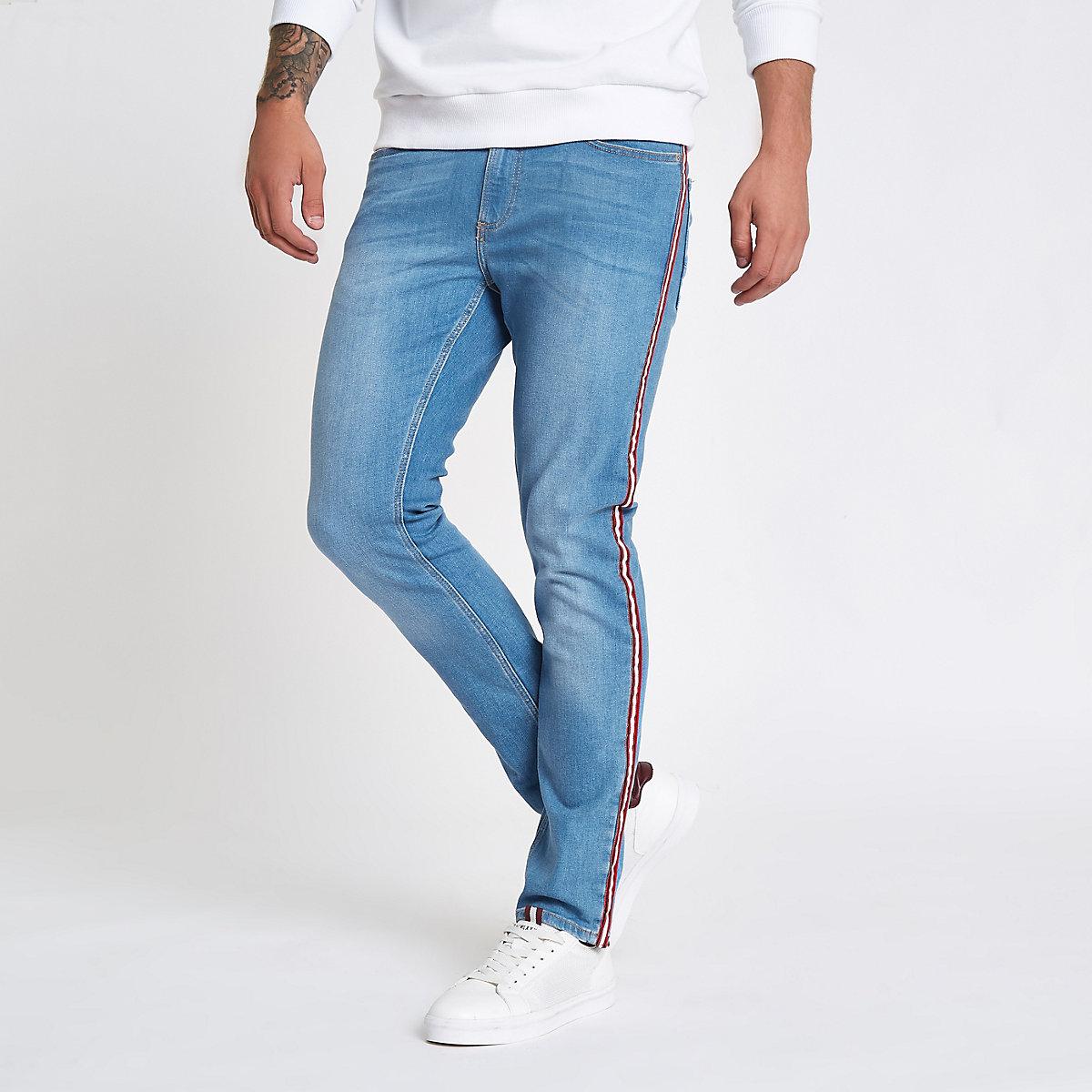 Sid – Jean skinny stretch bleu à bande latérale