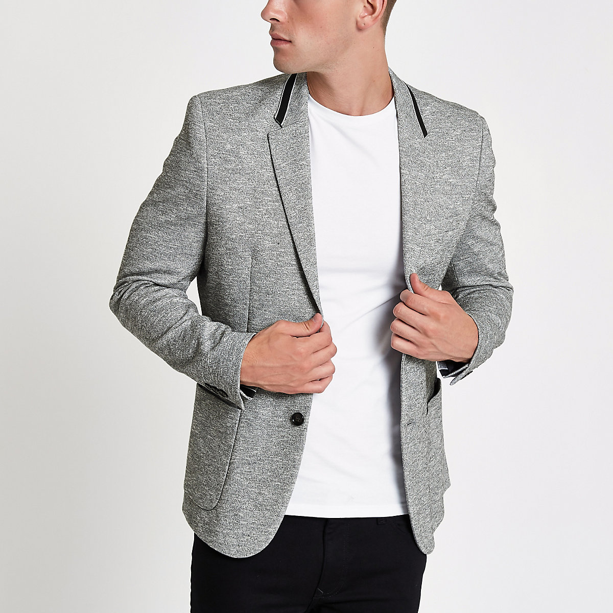 Grey tape collar skinny fit jersey blazer