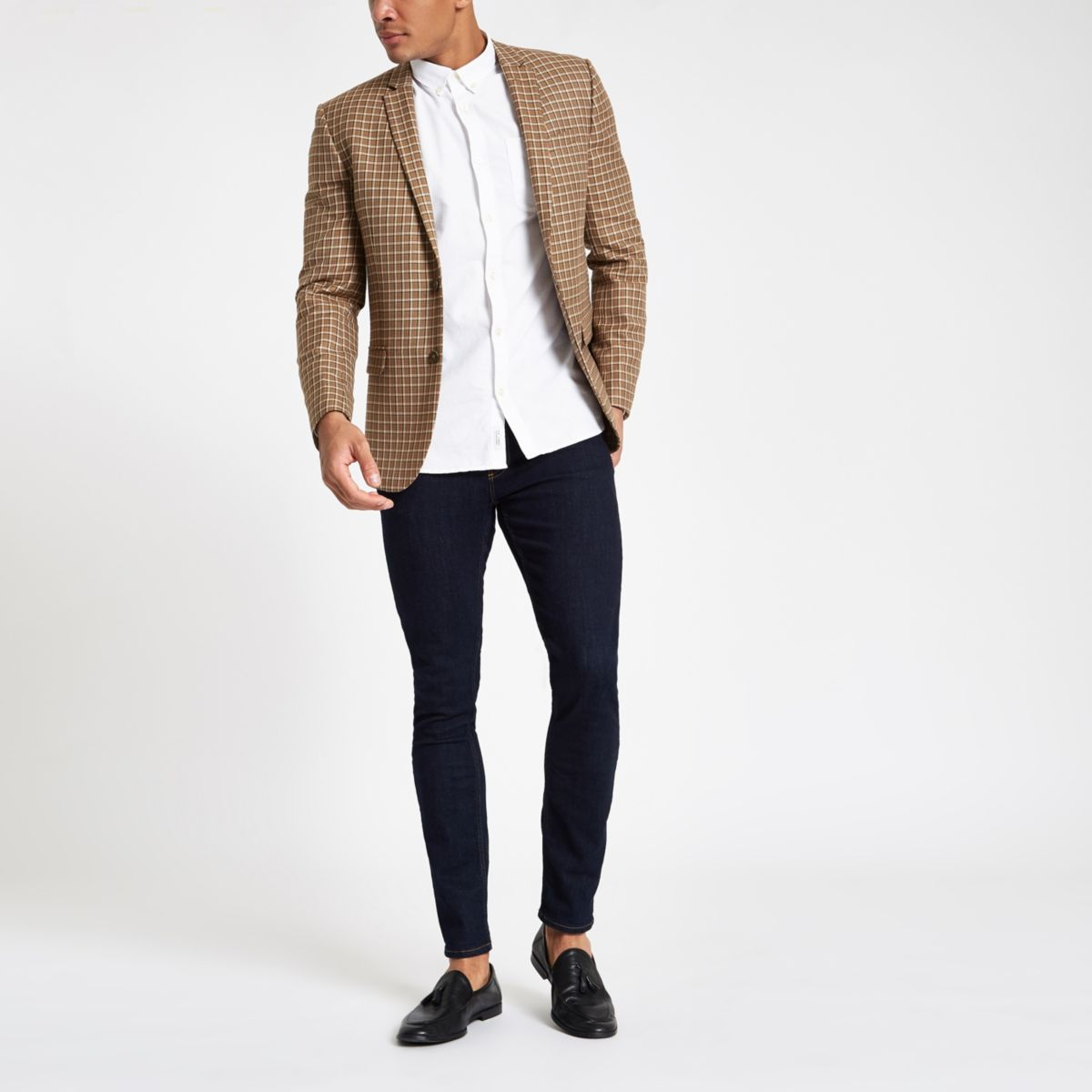 Brown check super skinny fit blazer
