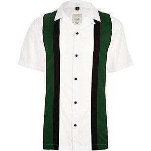 Chemise colour block blanche à manches courtes