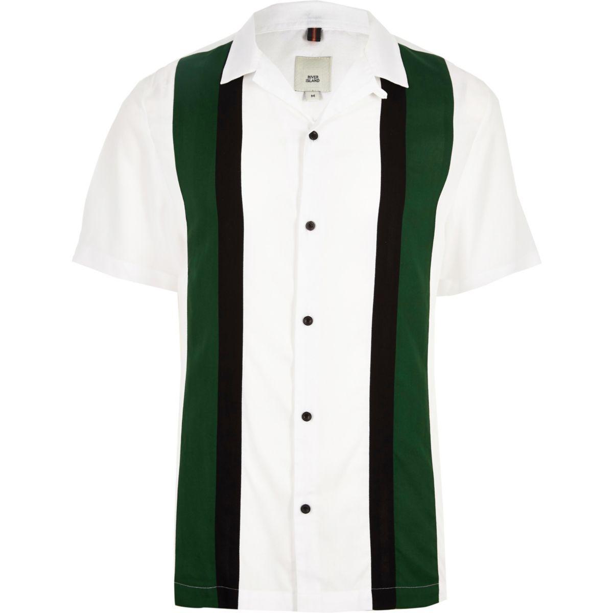 White short sleeve colour block shirt
