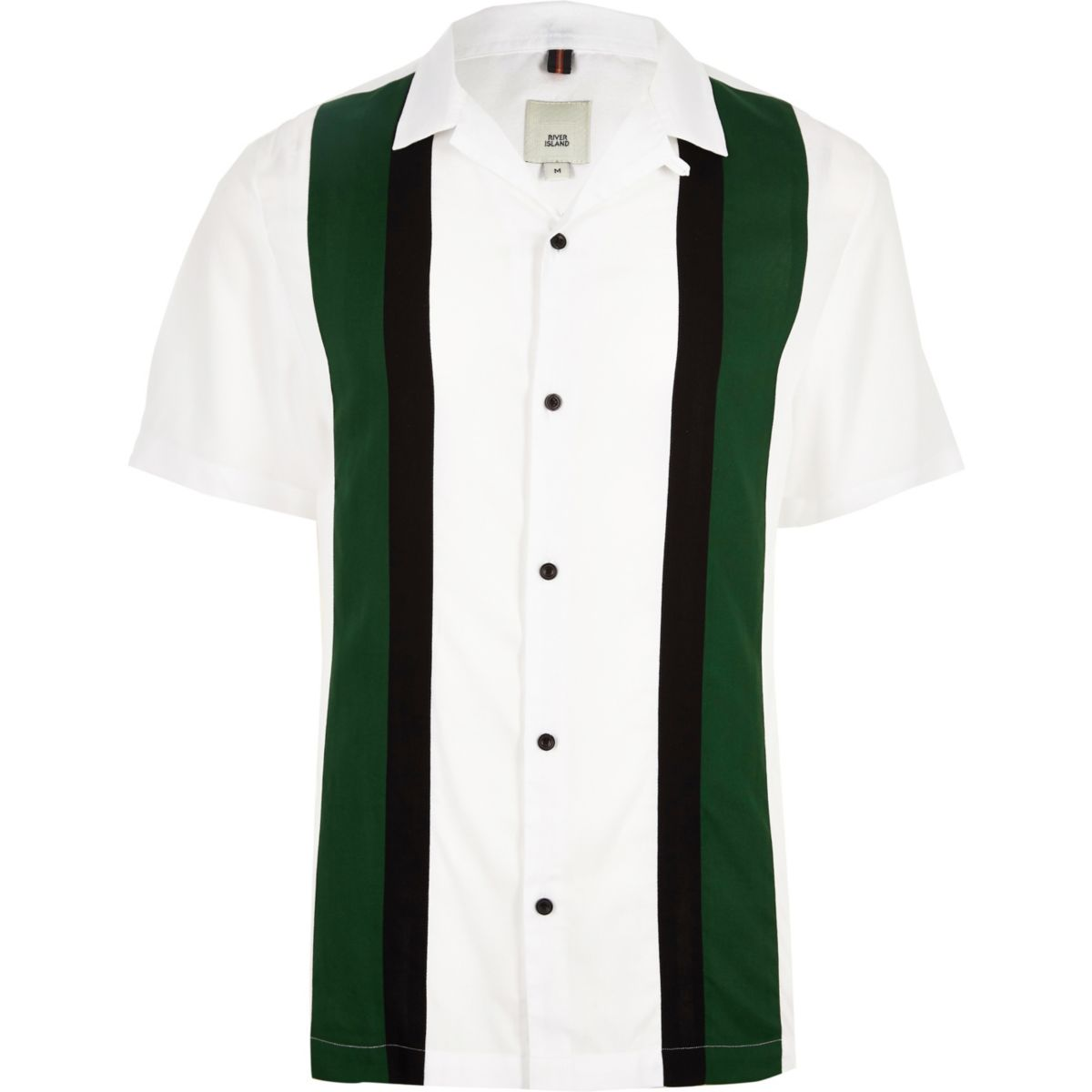 White short sleeve color block shirt