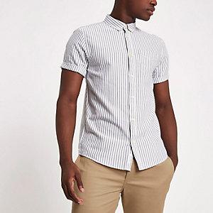 Grijs Oxford overhemd met korte mouwen en strepenprint