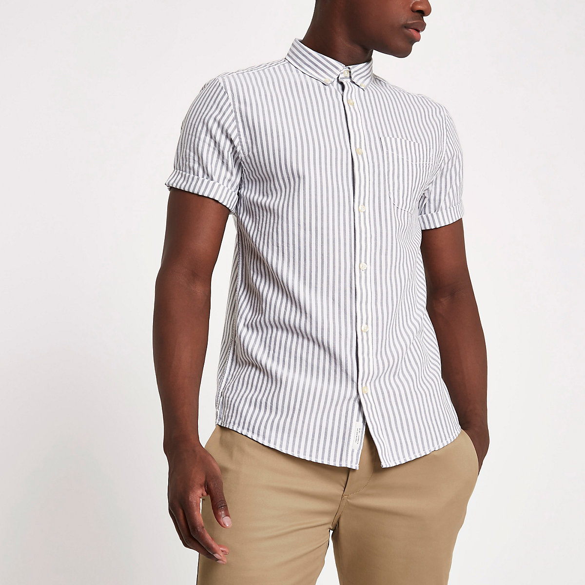 Grey stripe short sleeve oxford shirt