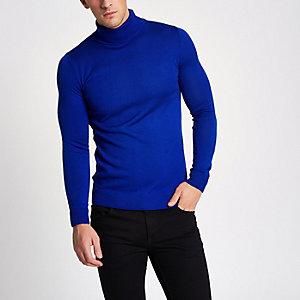 Blauwe slim-fit pullover met col