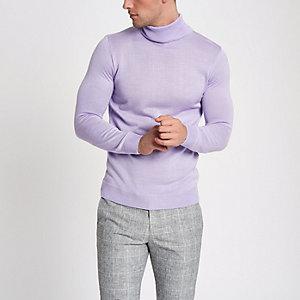 Pull slim violet clair à col roulé