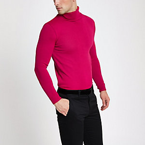 Slim Fit Rollkragenpullover in Pink