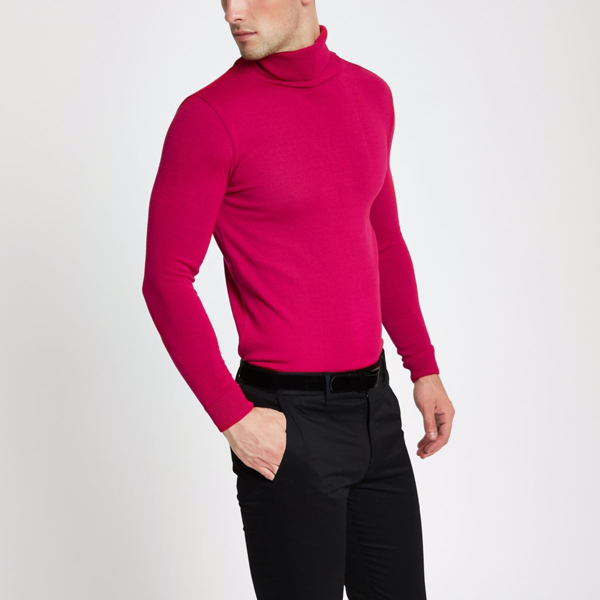 Pink slim fit roll neck sweater