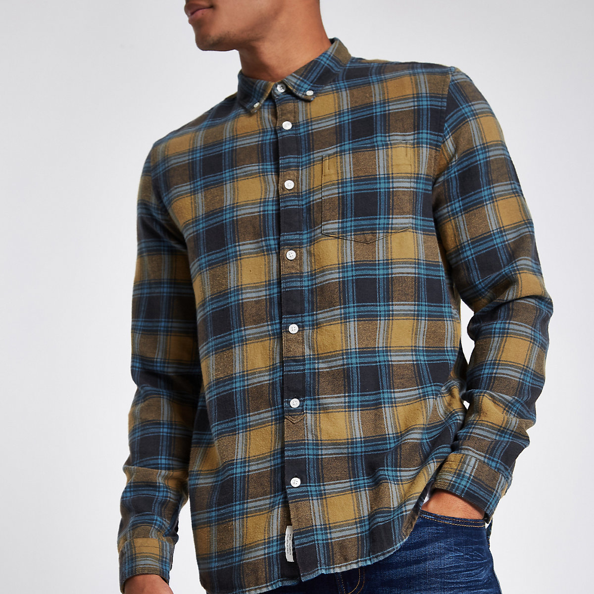 Yellow check long sleeve shirt