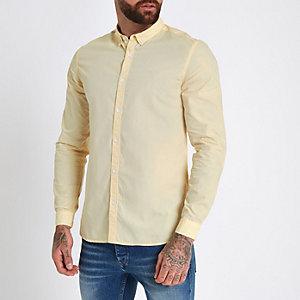 Geel poplin slim-fit overhemd met opgerolde mouwen