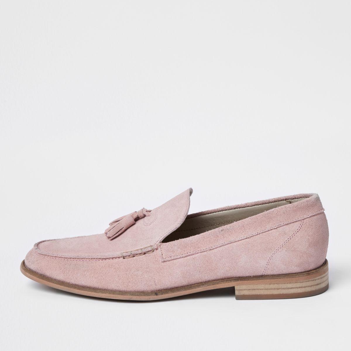 Light pink suede tassel loafers
