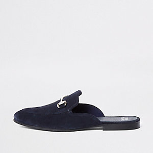 Navy suede snaffle backless loafers