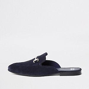 Marineblauwe suède loafers zonder achterkant