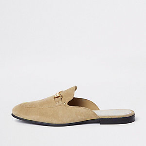 Stone suede snaffle backless loafers