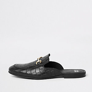 Black leather croc embossed backless loafers