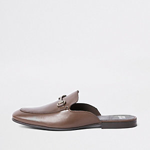 Brown leather snaffle backless loafers