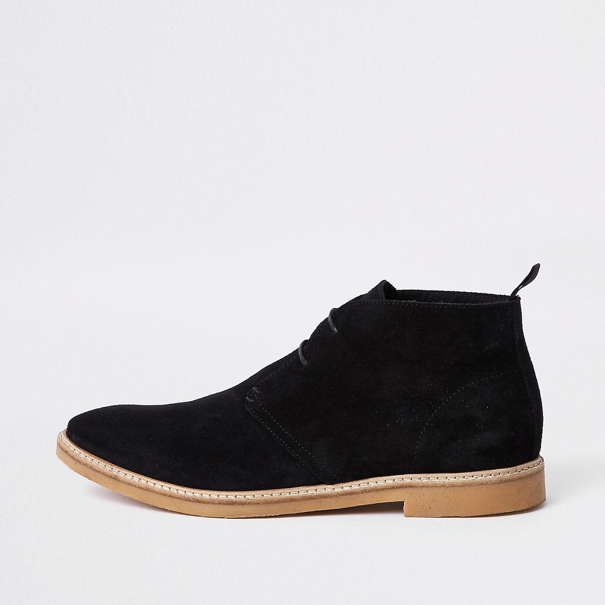 Black suede eyelet desert boots