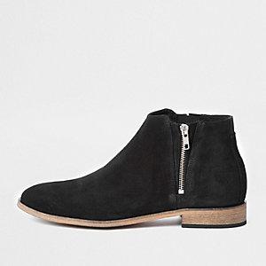 Zwarte suède chelsea boots met rits