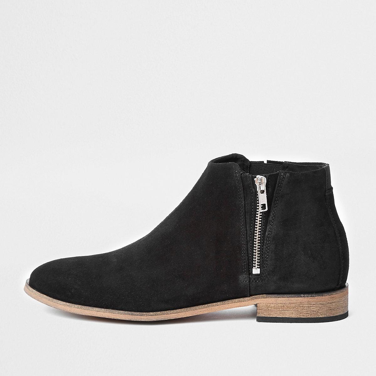 Black suede zip chelsea boots