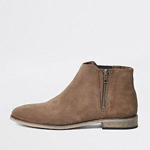 Brown suede zip chelsea boots