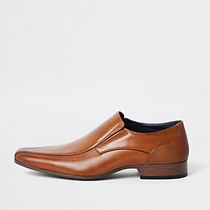 Brown faux leather slip on shoes On