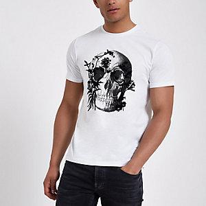 T-shirt slim imprimé tête de mort floqué blanc
