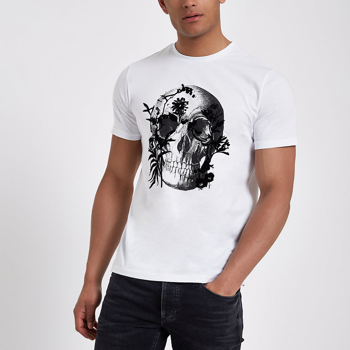 White skull flock print slim fit T-shirt