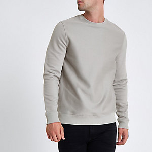 Grey twill crew neck slim fit sweatshirt