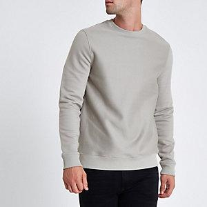 Grijs slim-fit sweatshirt met ronde hals in keperstof