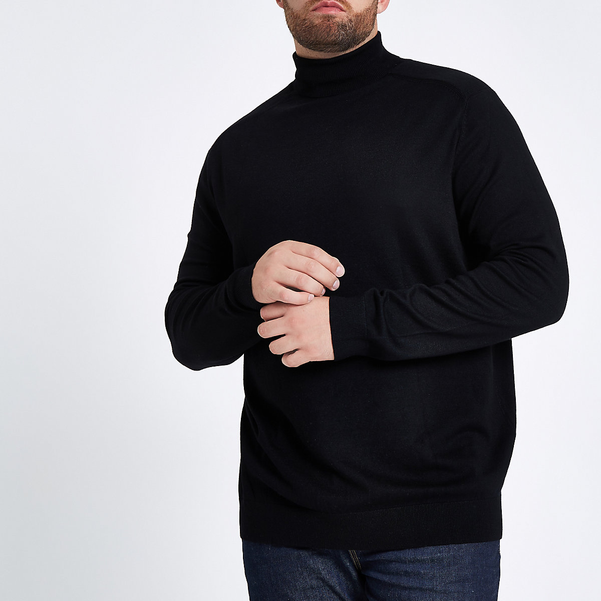 Big and Tall black slim fit roll neck jumper