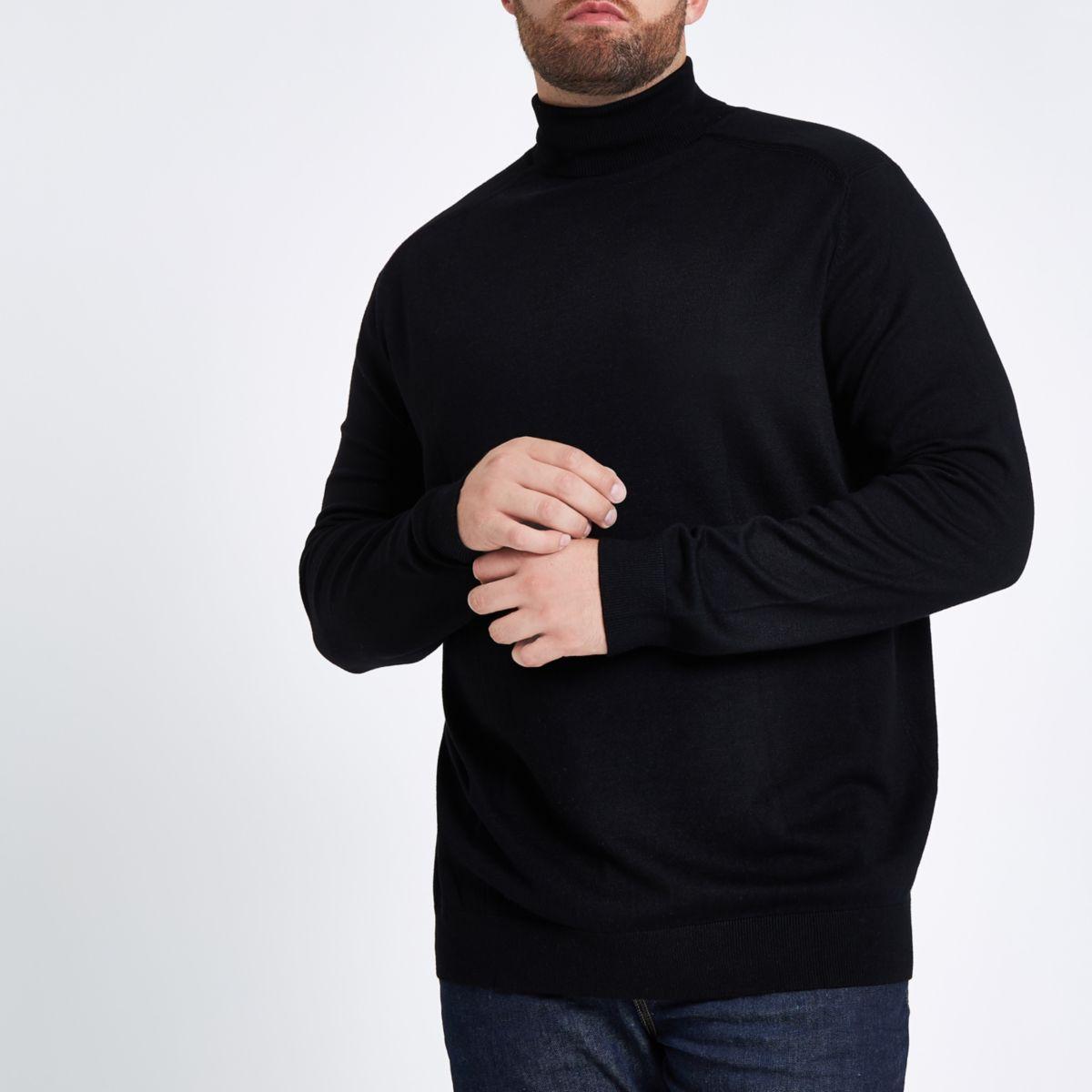 Big & Tall black slim fit roll neck sweater