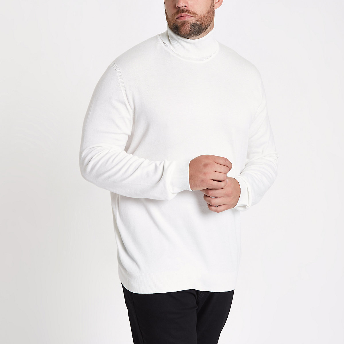 Big and Tall ecru slim fit roll neck jumper