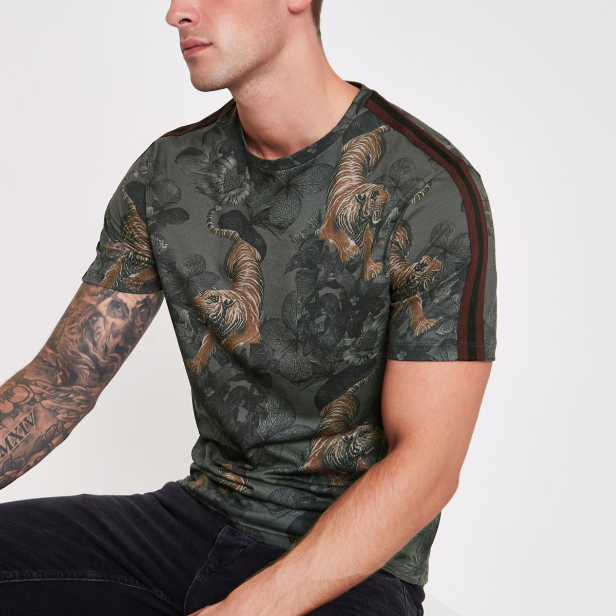 Black Slim Fit Tiger Print Tape T Shirt by River Island