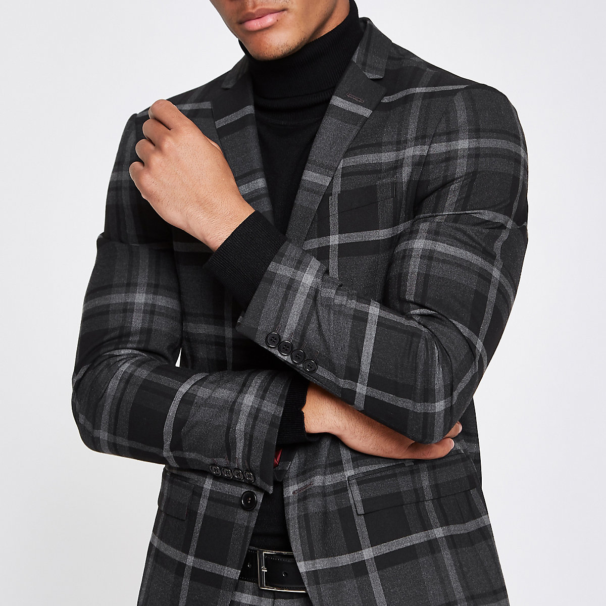 Grey check print skinny fit suit jacket
