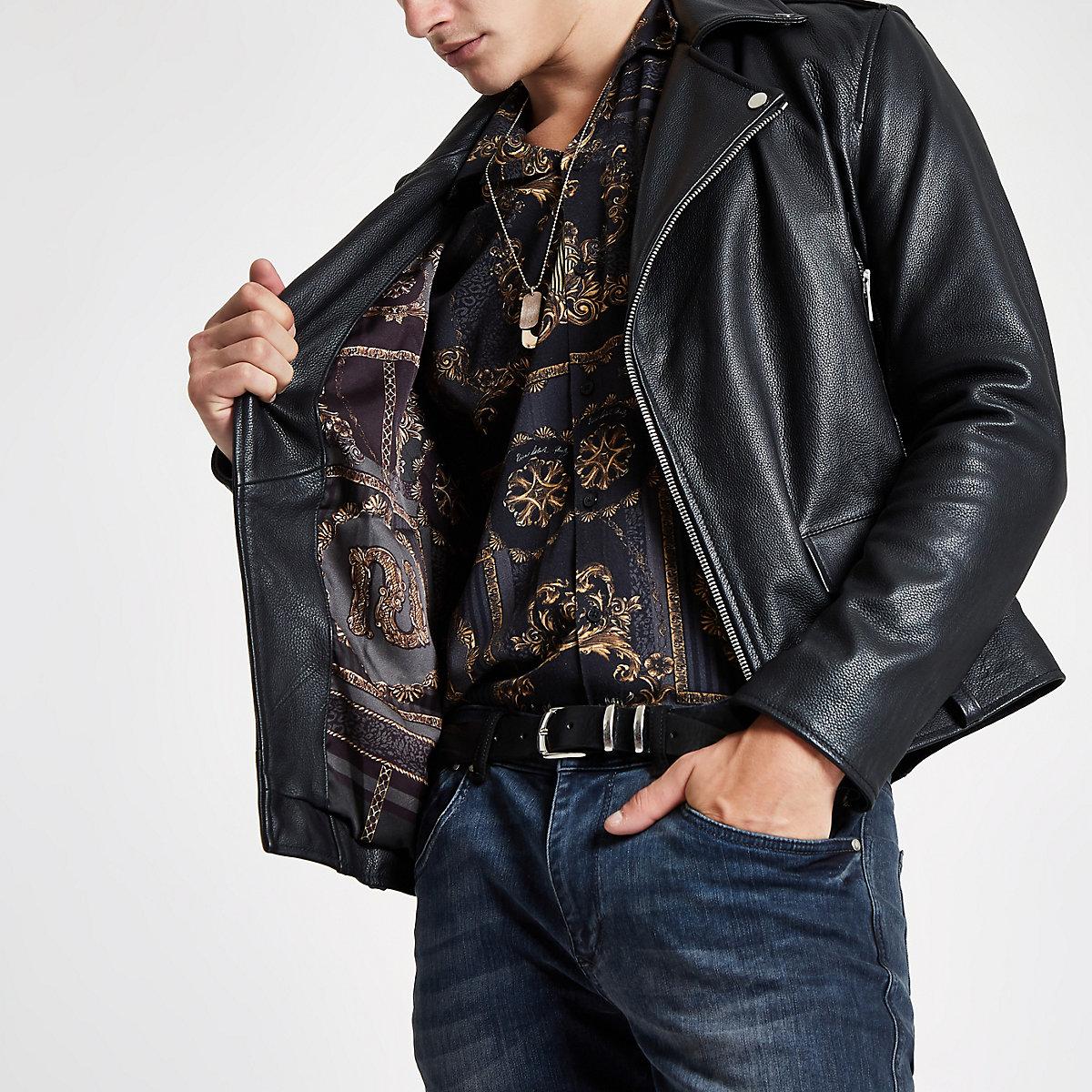 Ri 30 Black Leather Biker Jacket Jackets Coats Jackets Men