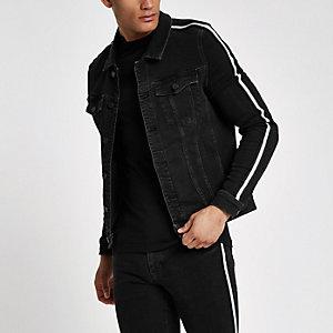 Veste en jean ajustée noire à bandes