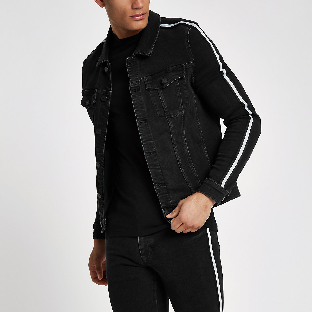Black muscle fit tape denim jacket
