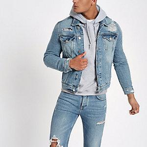 Veste classique en jean déchiré bleu