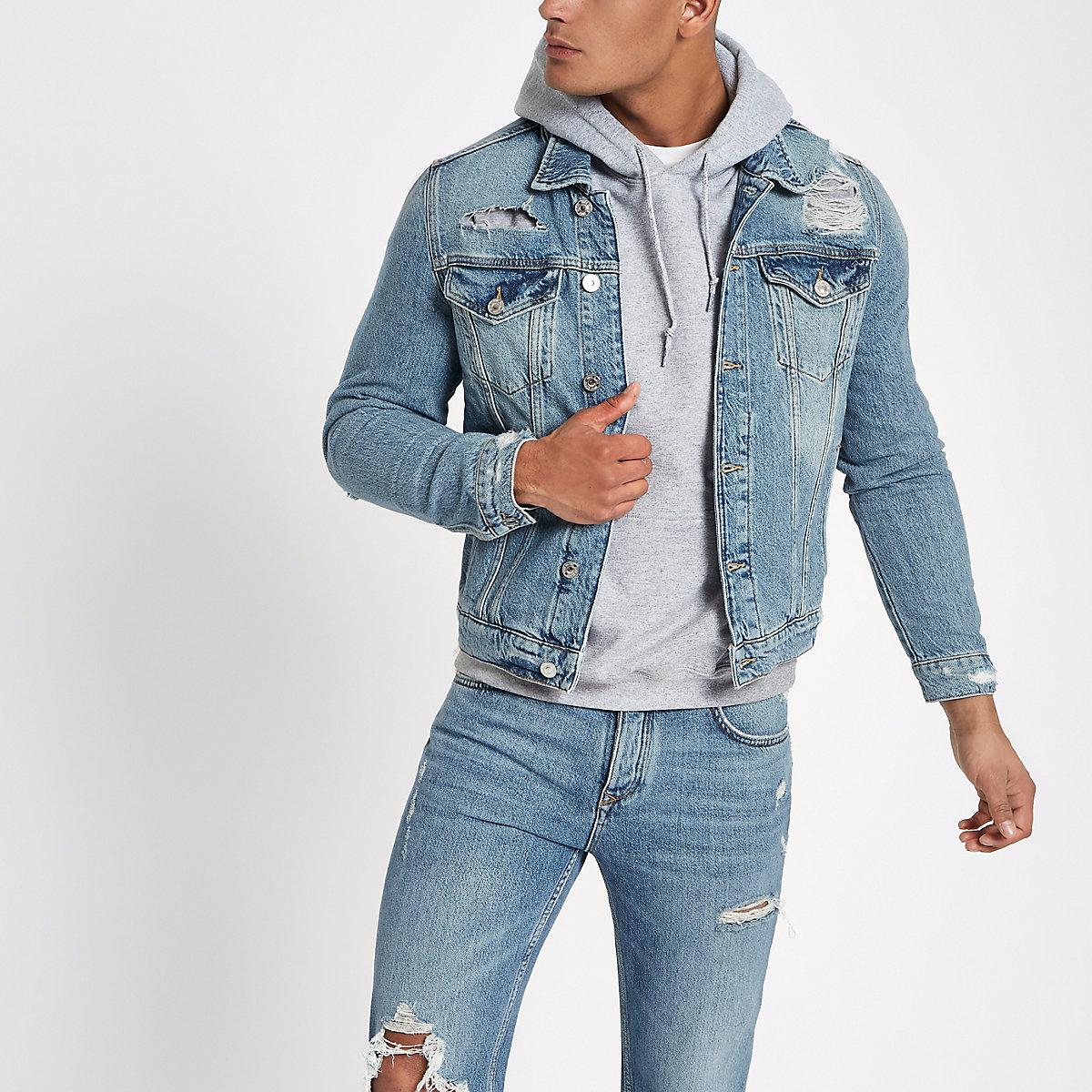 Blue classic fit ripped denim jacket