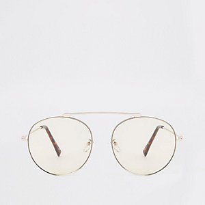 Silver tone bridgeless aviator sunglasses