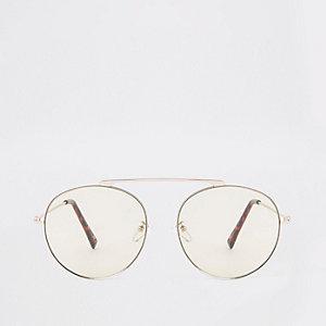 Zilverkleurige brugloze pilotenzonnebril