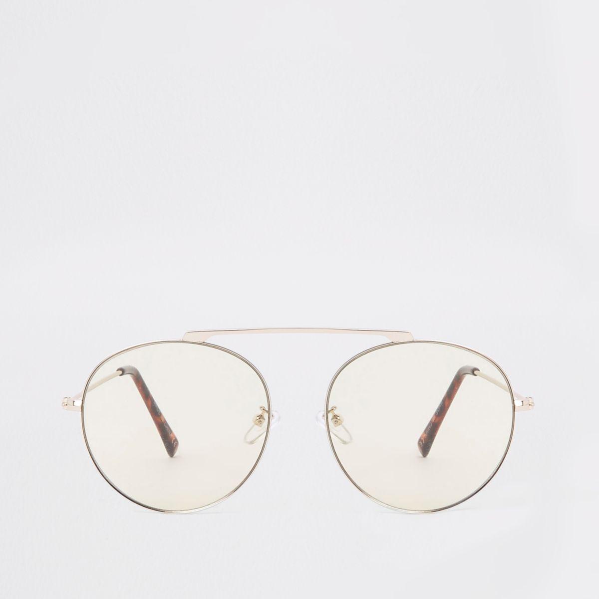 Silver tone bridgeless aviator sunglasses