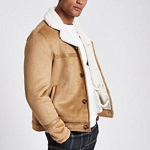 Braune Jacke aus Wildleder und Lammfeldimitat