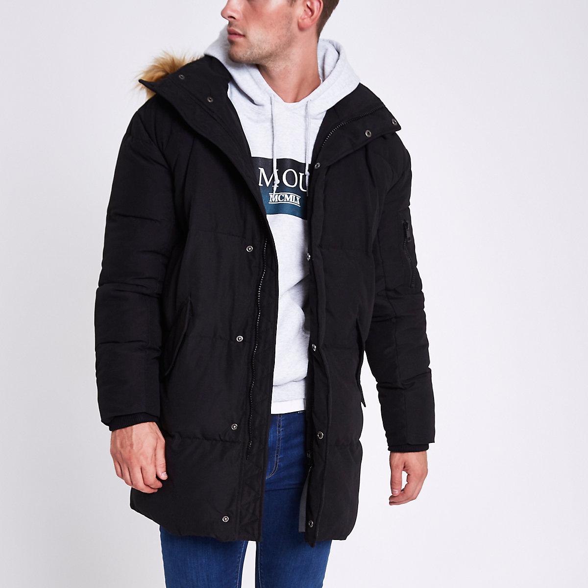 Black longline faux fur hooded parka jacket