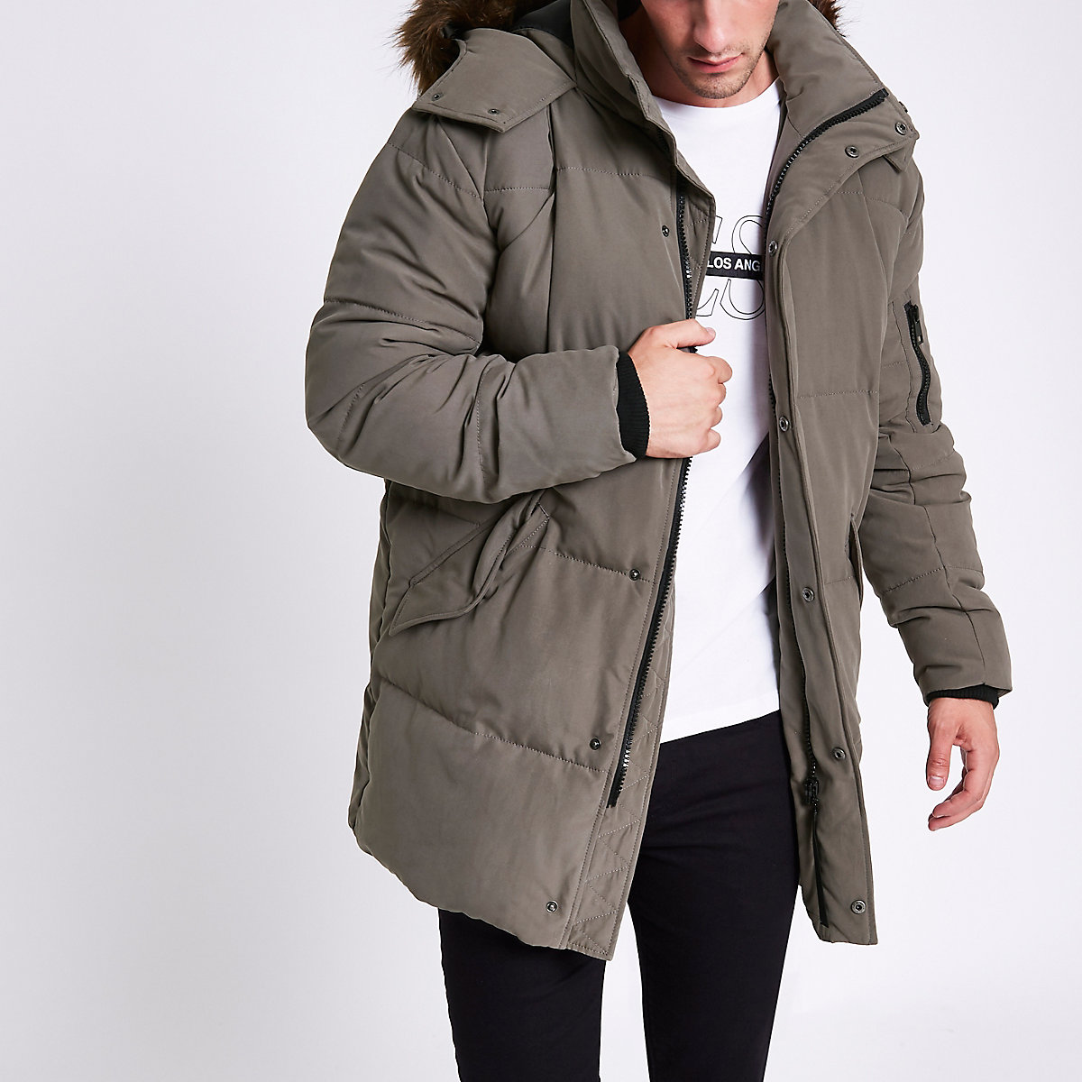 Grey longline faux fur hooded parka jacket