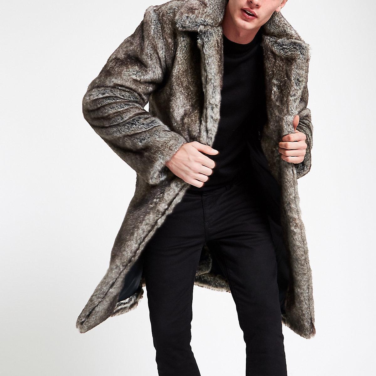 Grey faux fur longline coat