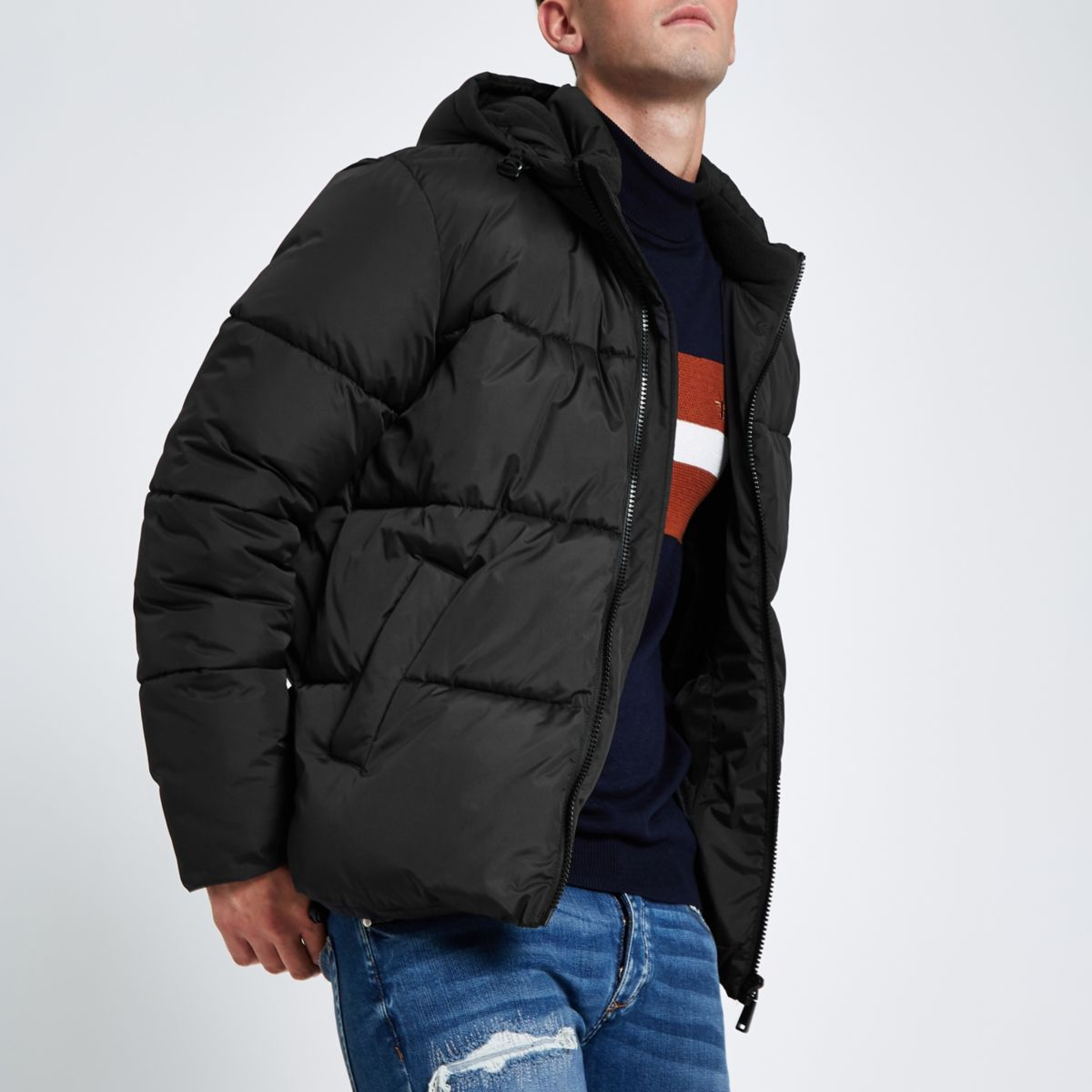 Black hooded puffer jacket with funnel neck